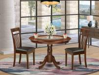 3 Pc set with a Round Kitchen Table and 2 Leather Kitchen Chairs in Mahogany