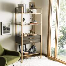 Safavieh Home Collection Skylar 4 Tier 1 Drawer Etagere, Gold/Grey