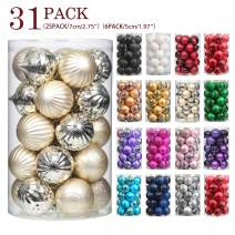 "Jusdreen 31pcs Christmas Balls Ornaments for Xmas Tree Shatterproof Christmas Tree Hanging Balls Decoration for Holiday Party Baubles Set with Hang Rope 1.97""/2.75"" Champagne"