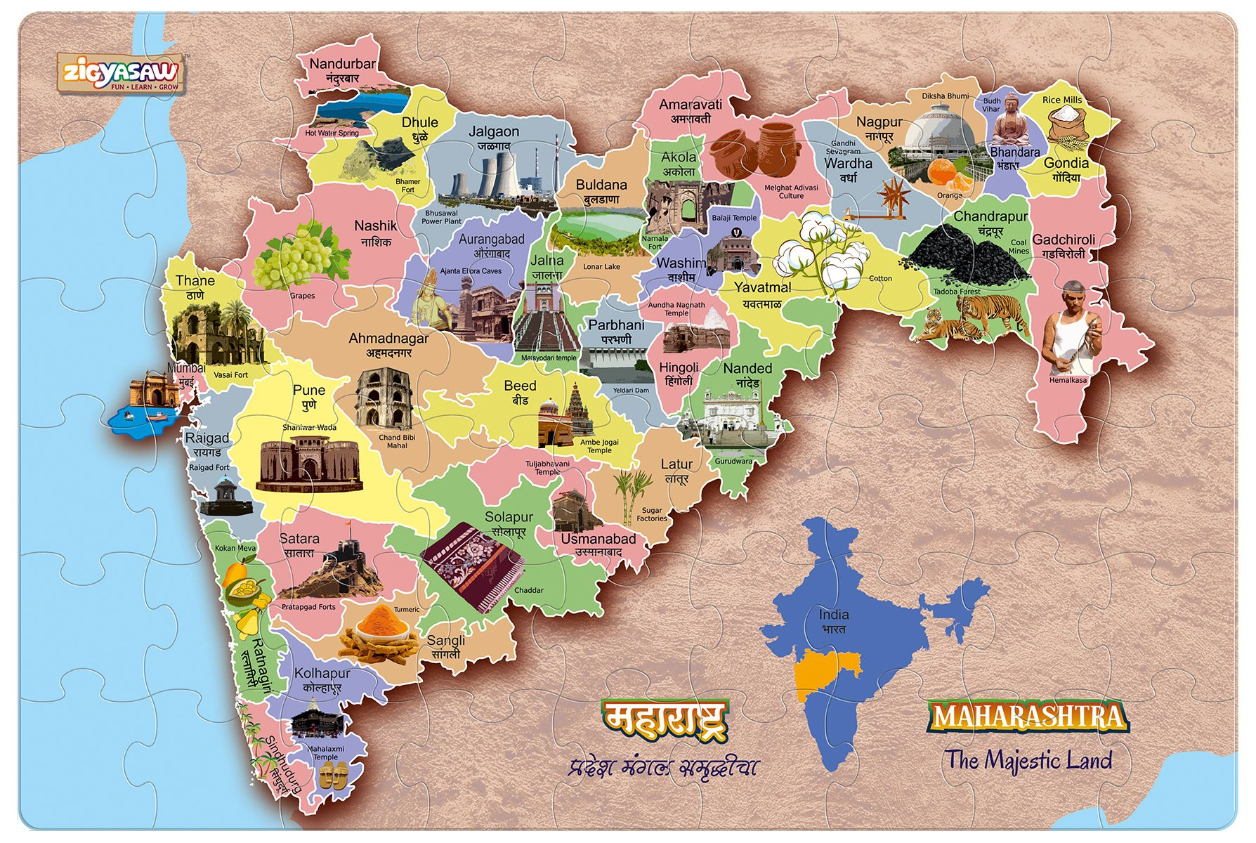 """ZiGYASAW Maharashtra Map Giant Jumbo Jigsaw Floor Puzzle (Wipe-Clean Surface, Teaches Geography, 54 Pieces, 24"""" L x 36"""" W, Great Gift for Girls and Boys - Best for 4,5,6,7,8 Year Olds and Up)"""