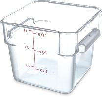 Carlisle 1072207 StorPlus Stackable Square Food Storage Container, 6 Quart Capacity, Clear (Pack of 6)