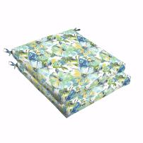 Mozaic AMCS108150 Indoor or Outdoor Square Chair Seat Cushions Set, Set of 2, 19 x 19 x 2.5, Blue & Green Floral