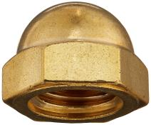 "Brass Acorn Nut, USA Made, 3/4""-10 Thread Size, 1-1/16"" Width Across Flats, 7/8"" Height, 1/2"" Minimum Thread Depth (Pack of 1)"
