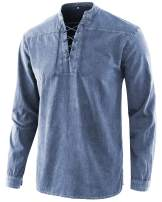 Moomphya Men's Retro Lace-up V-Neck Cotton Long Sleeve T-Shirts Tops