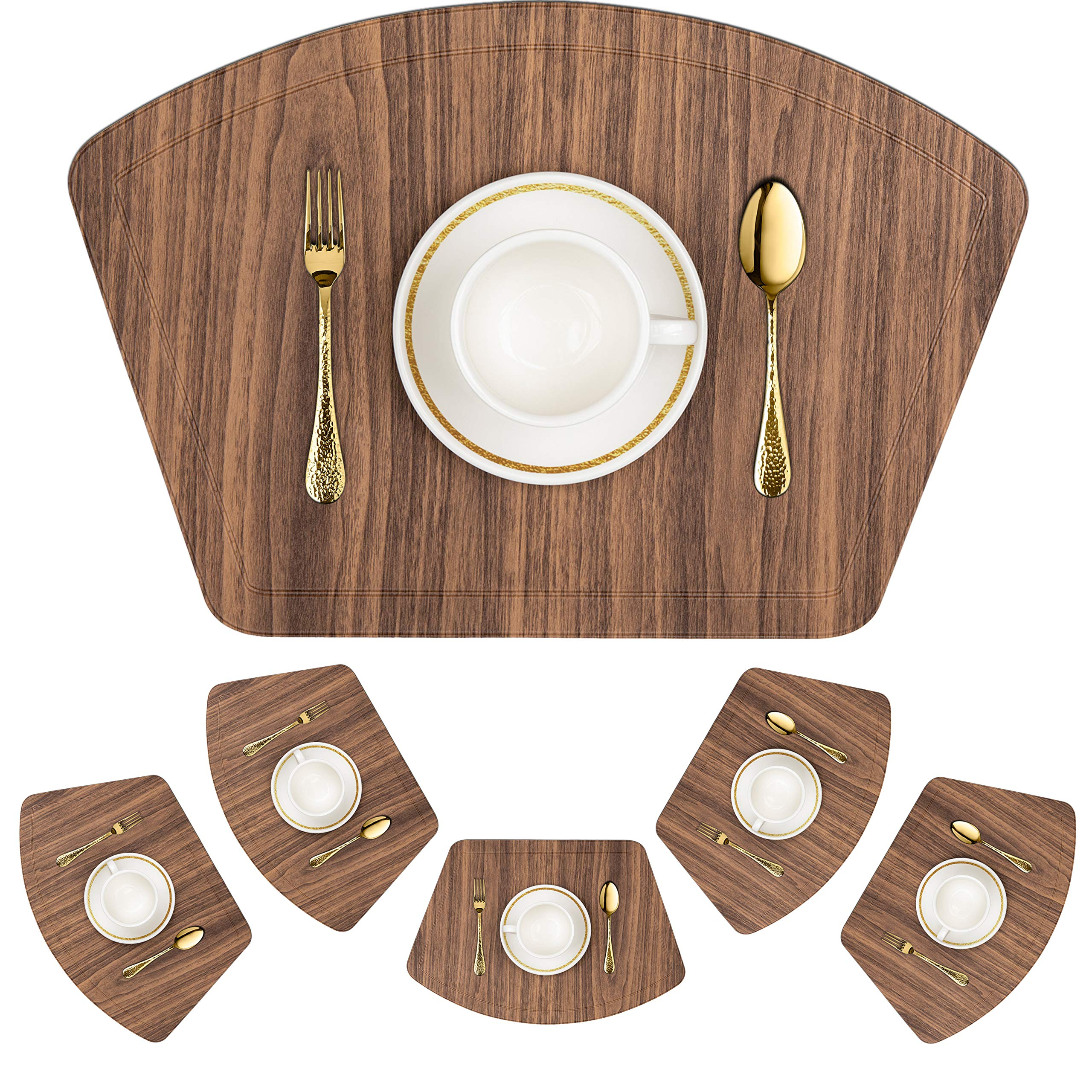 IMMOKAZ Round Placemat for Dining Heat Insulation Stain Resistant Non-Slip Waterproof Washable Wipe Clean PU Fan Shape Wedge Kitchen Table Mat Set (6, Pu_Wood Brown)