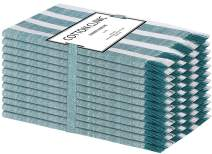 Cotton Clinic Belizzi Cloth Dinner Napkins – Perfect Everyday Use Table Linen – Soft Durable Washable – Ideal for Party Wedding Christmas Easter – Set of 12 (20x20 in/Teal White)