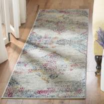 "Safavieh Madison Collection MAD157R Boho Chic Watercolor Medallion Distressed Runner, 2'3"" x 8', Light Grey/Fuchsia"