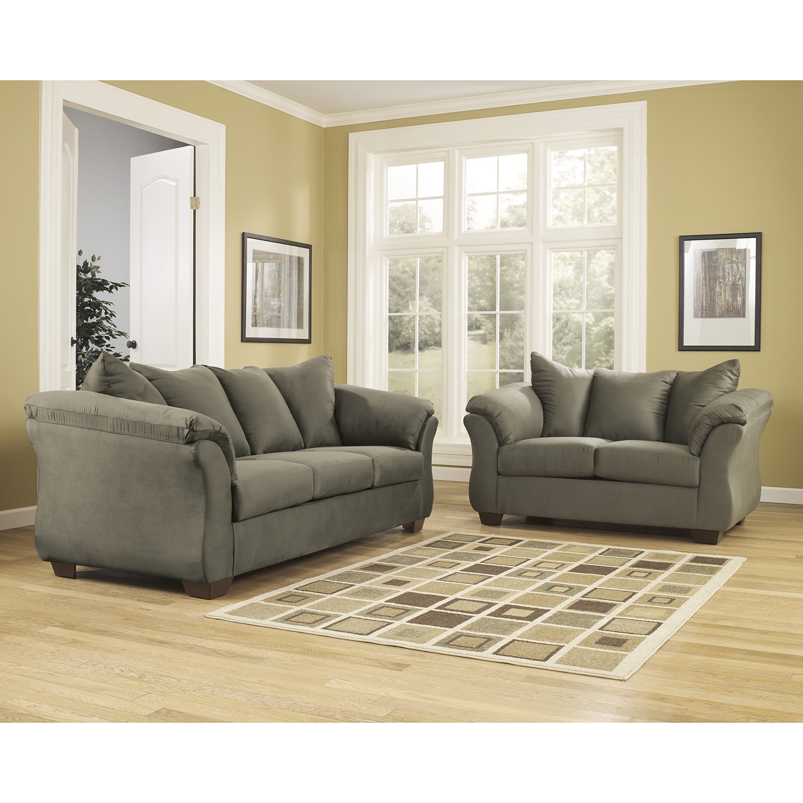 Flash Furniture Signature Design by Ashley Darcy Living Room Set in Sage Microfiber
