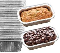 "35 Pack - 1LB Cute Mini Loaf Pans, Aluminum Loaf Pans, Bread Pans, Foil Loaf Pan l Cake Pan, Disposable Aluminum Pans l Top bakery's choice Tin Pans - 1 Pound - 6'' X 3.5"" x 2"""