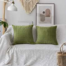 """UGASA Cable Knit Throw Pillow Cover Set, Decorative Knitting Stripes Pattern, Square Euro Accent Cushion Pillowcases, 2 Pieces (20""""x20"""", Grass Green)"""