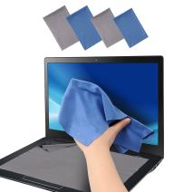 Wisdompro Large 4-Pack Microfiber Cleaning Cloth for Keyboard Protector Cover, Camera, Lens, Eyeglass, iPhone, iPad, Tablet, Laptop, LCD TV, Computer Screen(12x8.25, 13.5x8.63 Inches Blue and Grey)