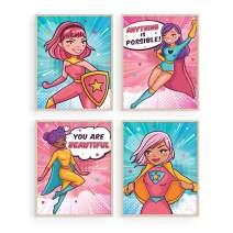 "Haus and Hues Posters for Teen Girls Room - Set of 4 Supergirl Inspirational Wall Art Prints Cute Girl Wall Decor | Positive Affirmation Bedroom Superhero Motivational Wall Art For Little Children Teens Kids (8""x10"", UNFRAMED)"