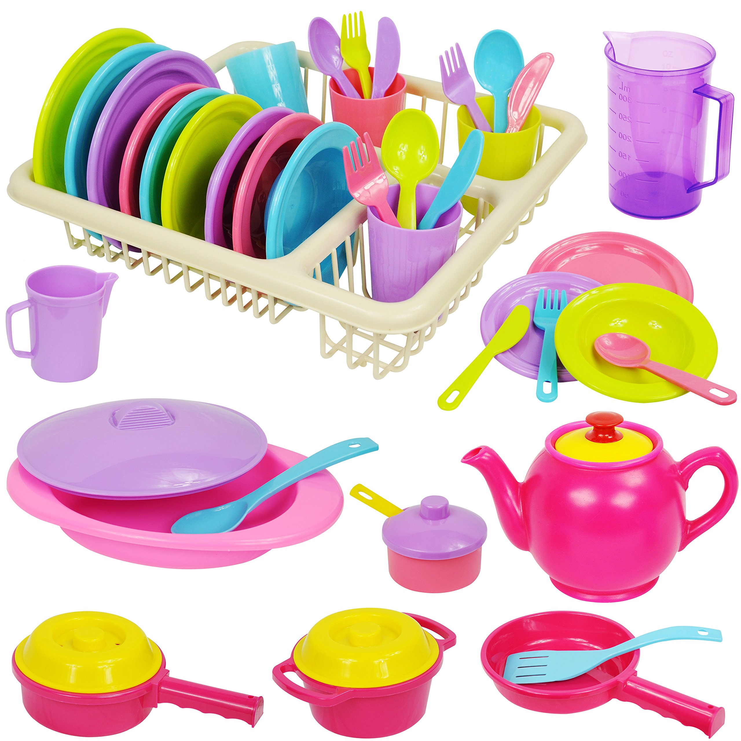 IQ Toys Incredibly Realistic Pretend Play Dish Set - Complete Service for 4 with Drainer, Pastel Colored Set of 40 Pieces