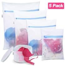 Plusmart 5 Pack Mesh Laundry Bags for delicates, Bra Lingerie Wash Bags, Zipper Travel Laundry Bag