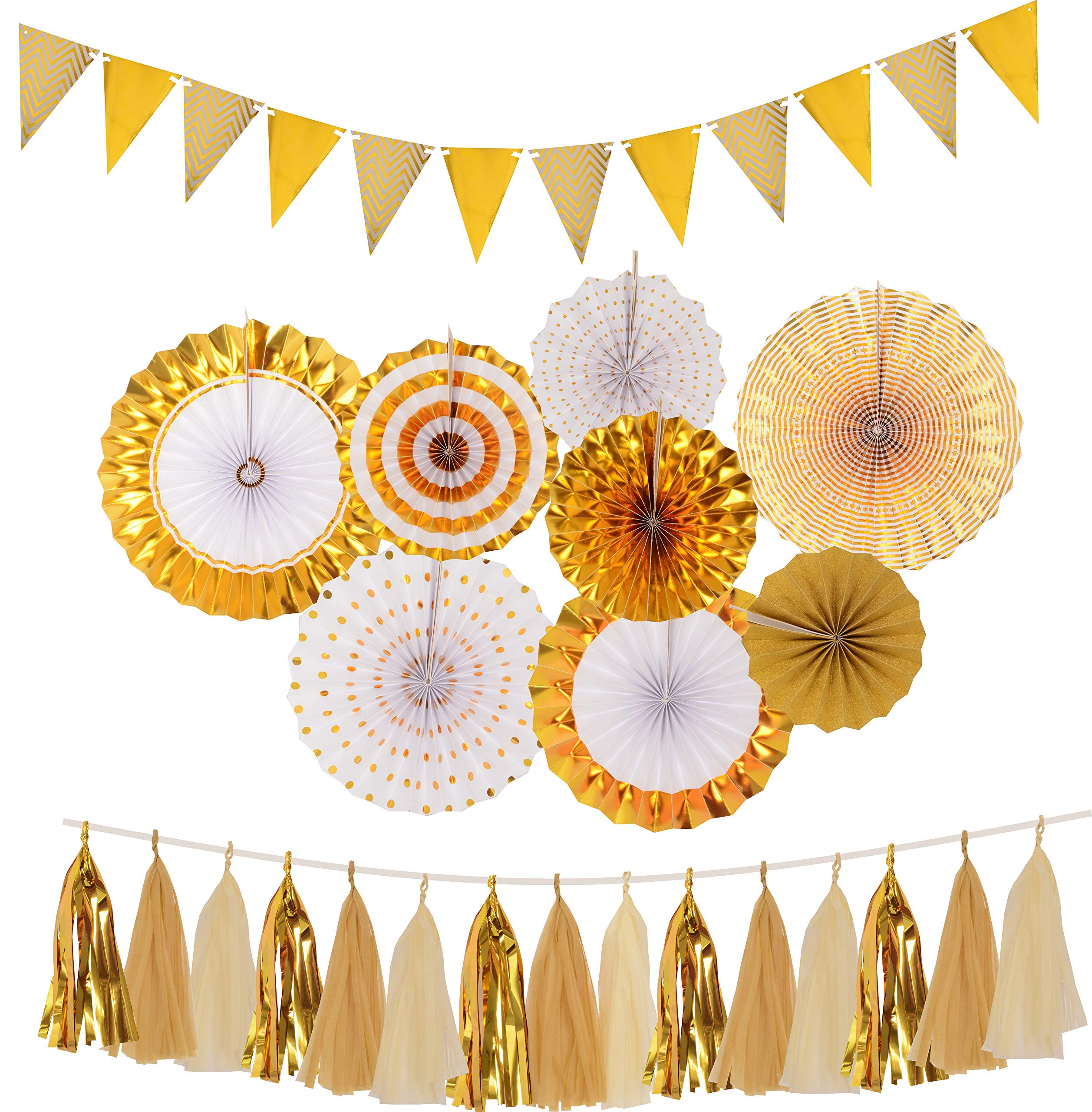Gold Party Decorations, Gold Paper Fans Decorations, Gold Glittery paper pennant Banner Triangle Flags, GoldTissue Paper Tassels Garland, Gold Paper Fan Hanging for Baby Shower, Birthday Party Wedding