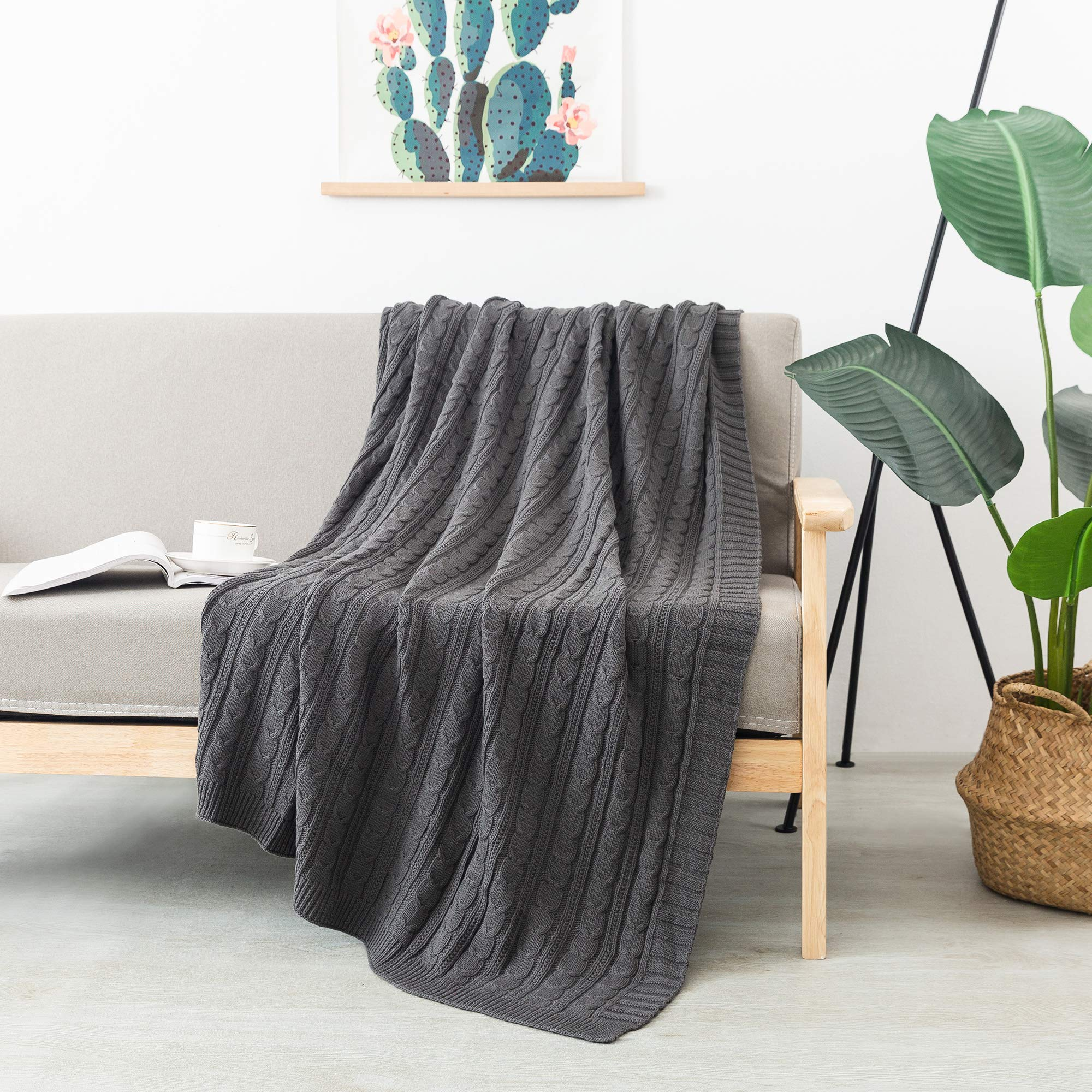 """FELIX ANGELA HOME 100% Cotton Knitted Throw, Soft Lightweight Throws for Couch Sofa Chair Bed, 50"""" x 60"""" (Charcoal)"""