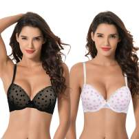 Curve Muse Women's Plus Size Push Up Add 1 and a Half Cup Underwire Mesh Bra
