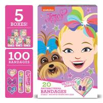 JoJo Siwa Kids Bandages, 100 ct   Includes Glitter Bandages   Adhesive Antibacterial Bandages for Minor Cuts, Scrapes, Burns. Easter Basket Stuffers for Kids & Toddlers