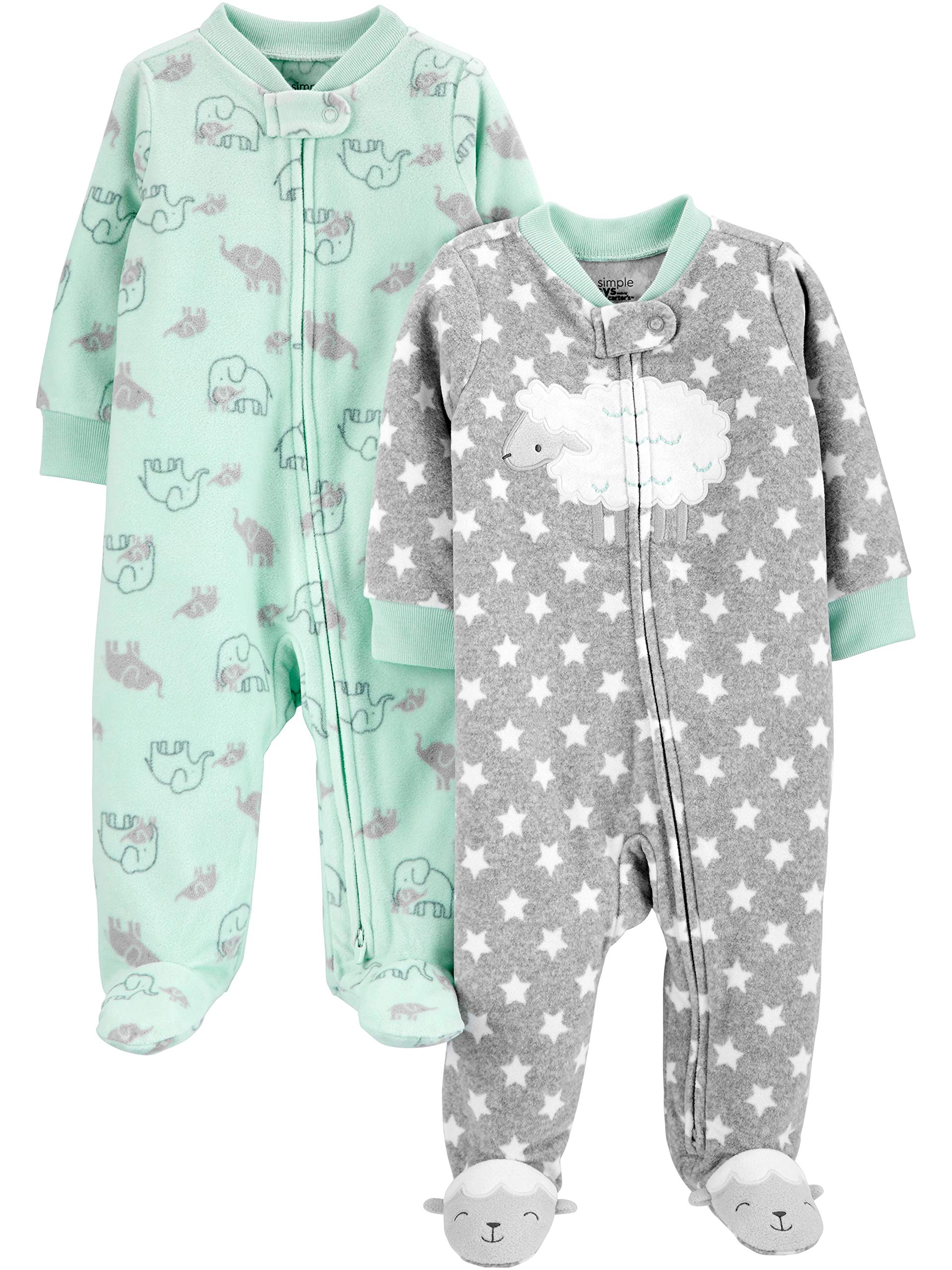 Simple Joys by Carters Unisex Baby 2-Pack Fleece Footed Sleep and Play Infant-and-Toddler-Sleepers