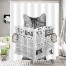 "MitoVilla Cute Cat Reading a Newspaper Shower Curtain Set with Hooks, Funny Cat Themed Gifts for Baby Kids and Teen Children Bathroom Decor, Grey, 72"" W x 72"" L Standard for Bathtub and Shower Stall"