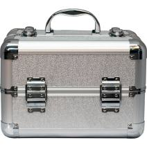 SUNRISE Makeup Organizer Case C0002 Aluminum, Two 2 Tier Trays, Locking with Shoulder Strap, Fancy Silver
