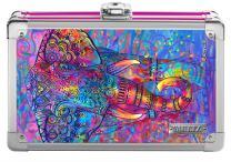 "Vaultz Locking Supplies & Pencil Box with Key Lock, 5""x 2.5""x 8.5"", 3D Bohemian Elephant (VZ00778)"