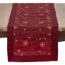 """SARO LIFESTYLE XJ511.BU16108B Sevilla Collection Embroidered and Sequined Table Runner in Festive Tones, 16"""" x 108"""", Burgundy"""