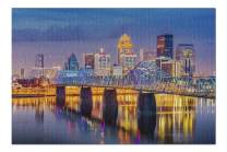 Louisville, Kentucky - Skyline at Night with Water Reflections & Bridge 9005264 (19x27 Premium 1000 Piece Jigsaw Puzzle, Made in USA!)