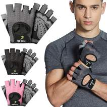 HiRui Workout Gloves for Men Women Youth, Ventilated Exercise Gloves Cycling Gloves with Full Palm Silicone Padding for Fitness Weightlifting Gym Tennis Training Climbing, No Calluses