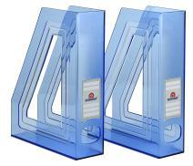 Acrimet Magazine File Holder Rack Organizer (Plastic) (Clear Blue Color) (2 Pack)