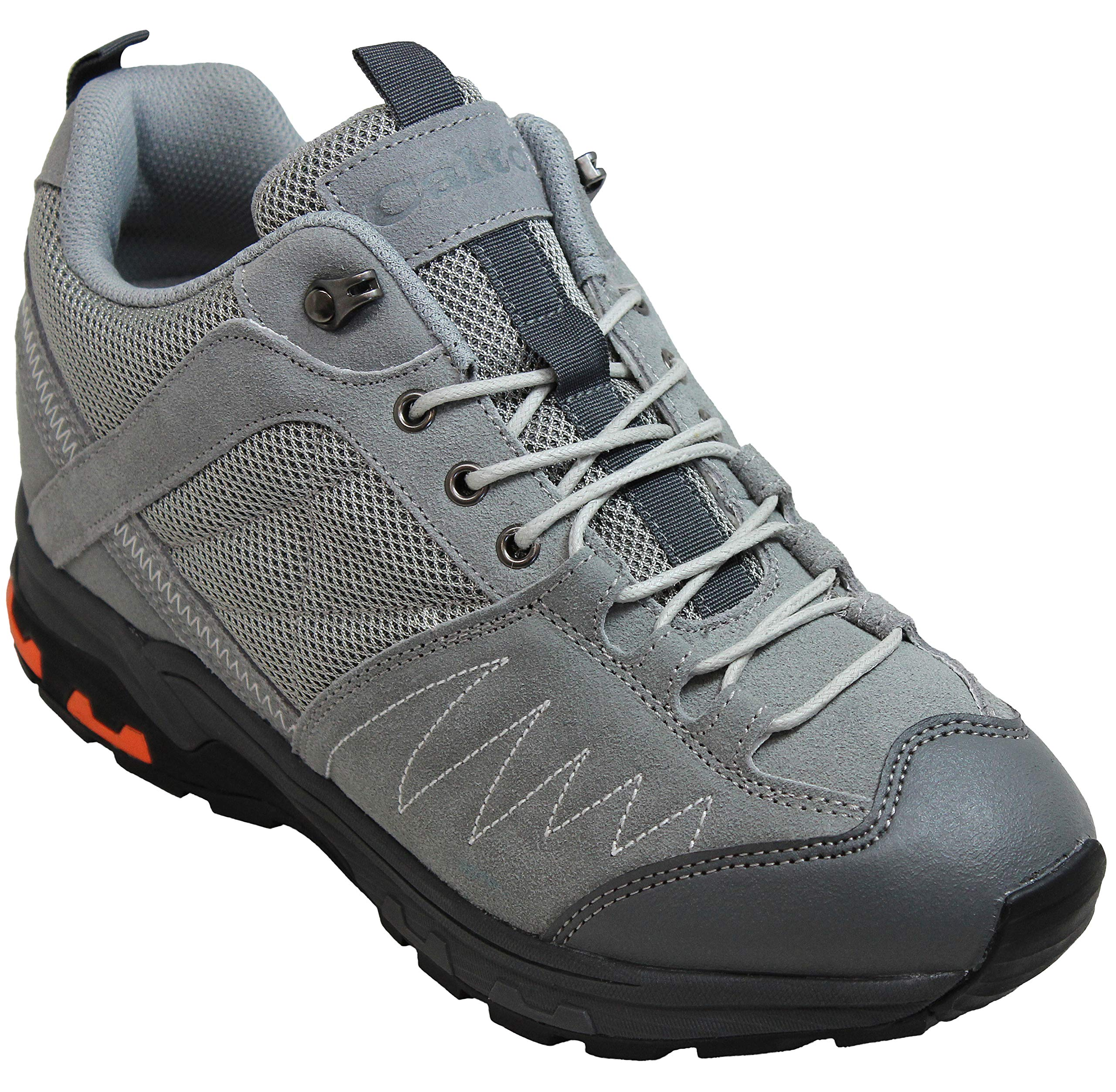 CALTO Men's Invisible Height Increasing Elevator Shoes - Grey Suede Lace-up Hiking Boots - 3.3 Inches Taller - H2043