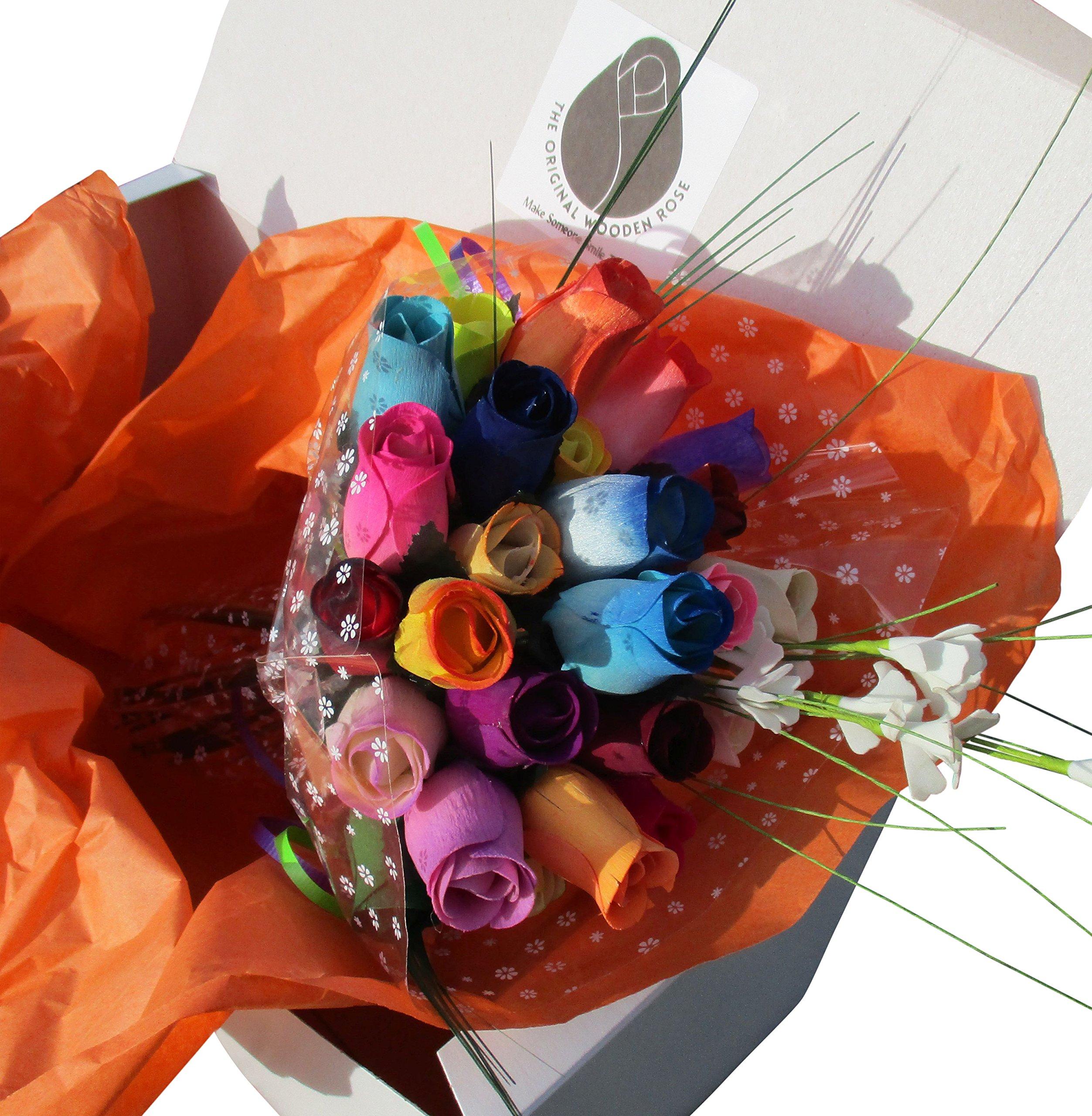 The Original Wooden Rose Assorted Colors Floral Flower Bouquets in a Gift Box (2 Dozen Bouquet) …