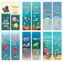 Creanoso Cute Sayings Sea Creatures Reading Bookmarks (60-Pack) – Stocking Stuffers Gift for Boys & Girls, Teens – Book Reading Rewards Gifts Incentive – Great Giveaways for Children – Page Clippers
