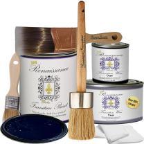 Retique It Chalk Finish Paint by Renaissance - Non Toxic, Eco-Friendly Chalk Furniture & Cabinet Paint - Deluxe Starter Kit, Black Indigo