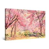 """Startonight Canvas Wall Art Abstract - Pink Forest Trees Painting - Large Artwork Print for Living Room 32"""" x 48"""""""
