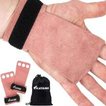 KAYANA 3 Hole Leather Gymnastics Hand Grips - Palm Protection and Wrist Support for Cross Training, Kettlebells, Pull ups, Weightlifting, Chin ups, Workout, Exercise
