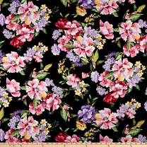 Timeless Treasures Isabelle Wild Rose Fabric, Black, Fabric By The Yard
