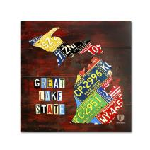 Michigan License Plate Map by Design Turnpike, 24x24-Inch Canvas Wall Art