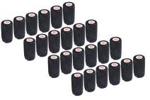 3 Inch Self Adhesive Medical Bandage Wrap Tape (Black) (24 Pack) Strong Elastic Self Adherent Cohesive First Aid Sport Flex Rolls for Wrist Ankle Knee Sprains and Swelling