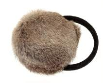 Surell Long Hair Rabbit Fur Earmuff with Velvet Band Winter Ear Warmer