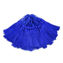 100pcs 13cm/5 Inch Silky Floss Bookmark Tassels with 2-Inch Cord Loop and Small Chinese Knot for Jewelry Making, Souvenir, Bookmarks, DIY Craft Accessory (Navy Blue)