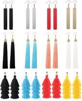 LOYALLOOK 12 Pairs Dangle Tassel Earring Leather Teardrop Drop Earring Set for Women Girls Statement Fashion Jewelry