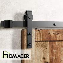 Homacer Sliding Barn Door Hardware Standard Single Door Kit, 4.5FT Flat Track Classic Design Roller, Black Rustic Heavy Duty Interior Exterior Use
