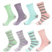 BambooMN Women's Soft Fuzzy Warm Cozy Striped Solid Socks - Assorted Bulk Value Packs
