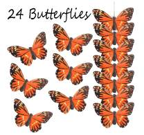 Touch of Nature 24 Piece Natural Orange Monarch Butterfly on a Clip (90003) - Arranging Supplies - Floral Decor - Spring Decor - Wreath Accents - Feather Butterfly - Craft Projects