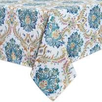 Abstract Floral Damask Pattern Linen Table Cloth-Waterproof Wrinkle Resistant Heavy Weight Textured Tablecloth for Kitchen Dinning Tabletop Outdoor Picnic,Rectangle,60 x 84Inch,Yellow and Green