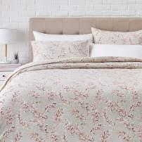 AmazonBasics Super-Soft Cotton Duvet Comforter Cover Set - King/Cal King, Pink Leaves