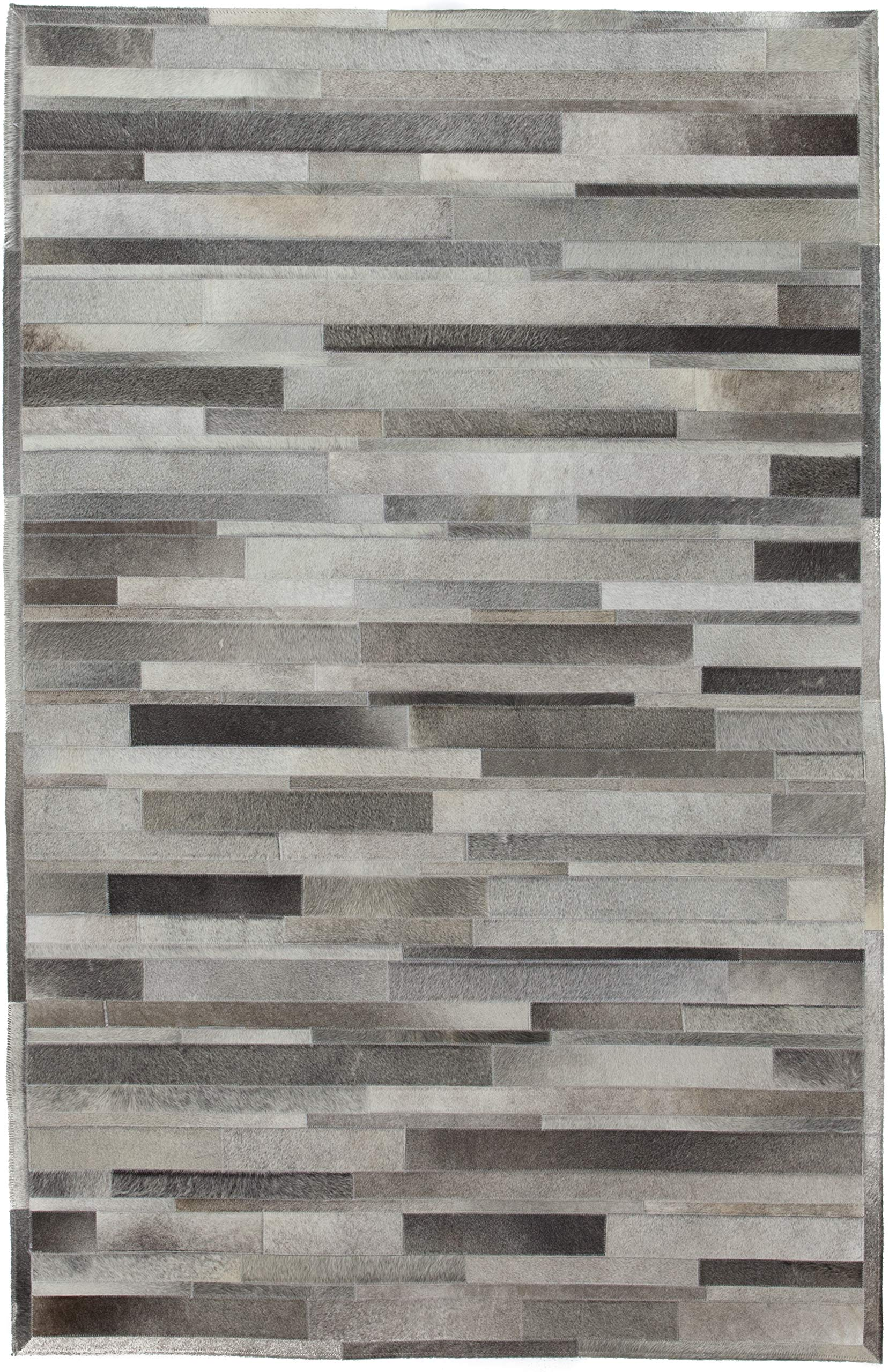 "Solo Rugs Cowhide Shire One of a Kind Hand Woven Area Rug, Gainsboro, 5' 1"" x 8' 1"""