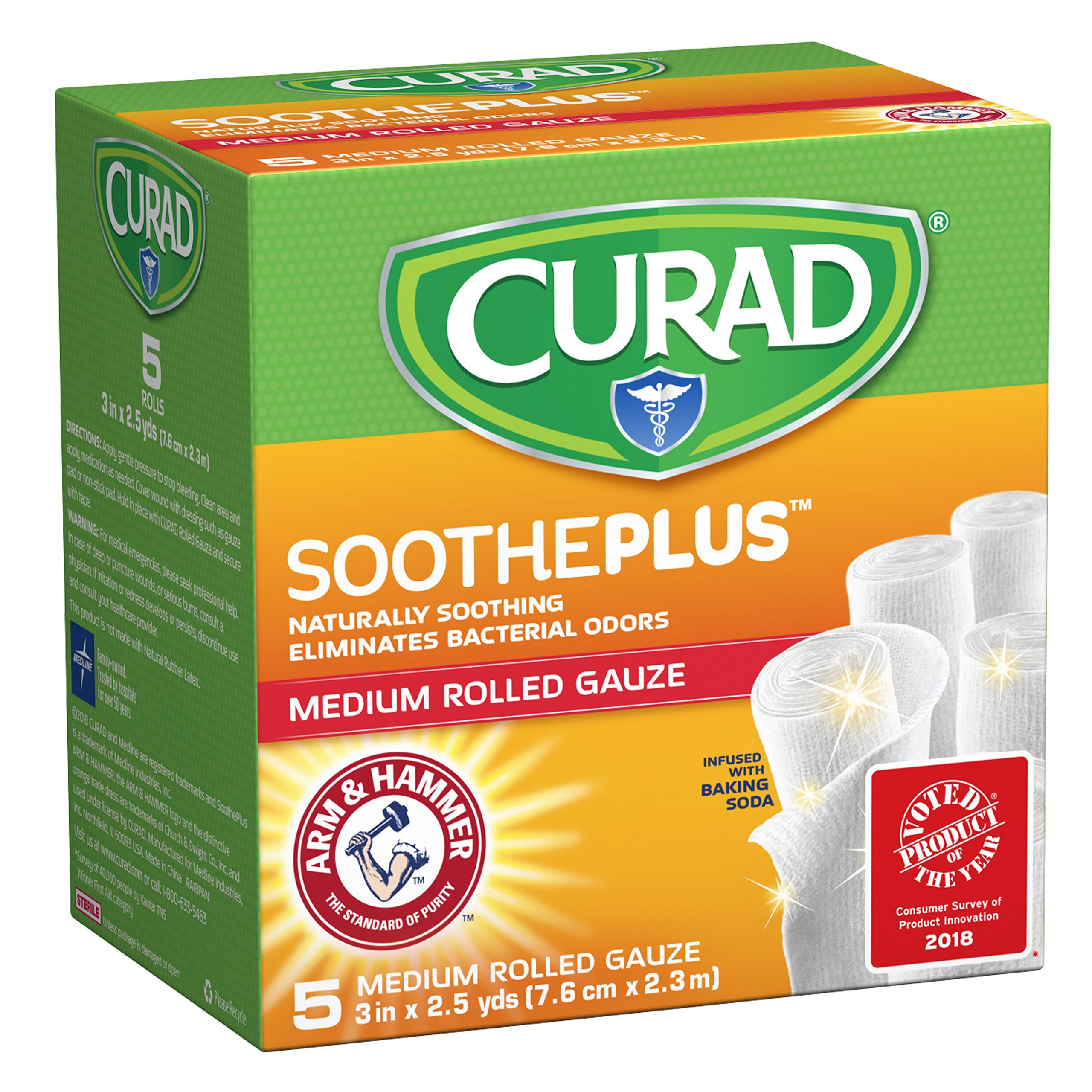 "CURAD SoothePLUS Rolled Gauze with ARM & Hammer Baking Soda, 3"" x 2.5 yds, 5 Count"