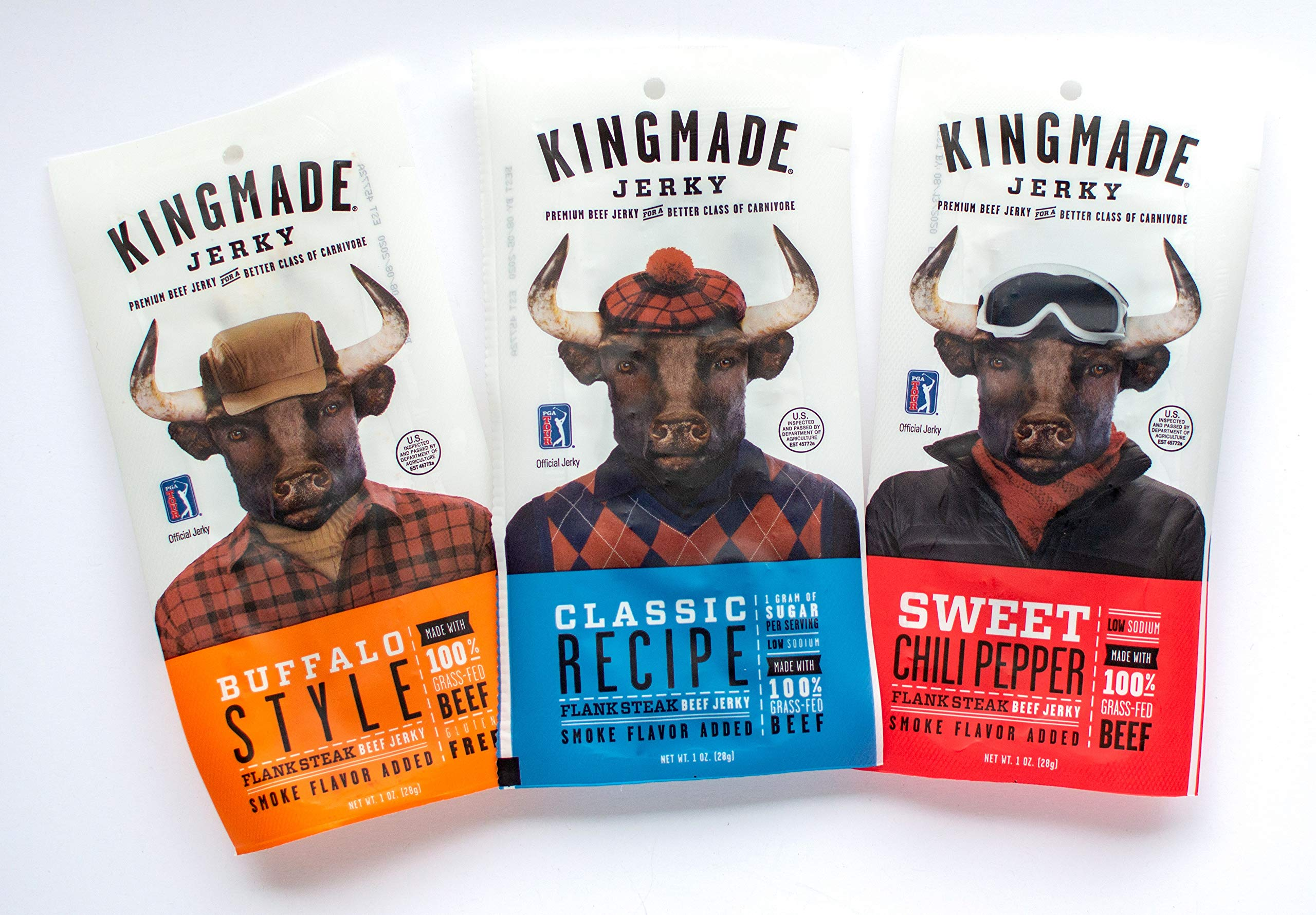 Kingmade Beef Jerky Variety Pack Premium Grass Fed Flank Steak Cuts, Gluten Free, Low Sugar & Sodium, No MSG Added, Natural Protein Snacks with No Nitrates & Nitrites (3 Pack)